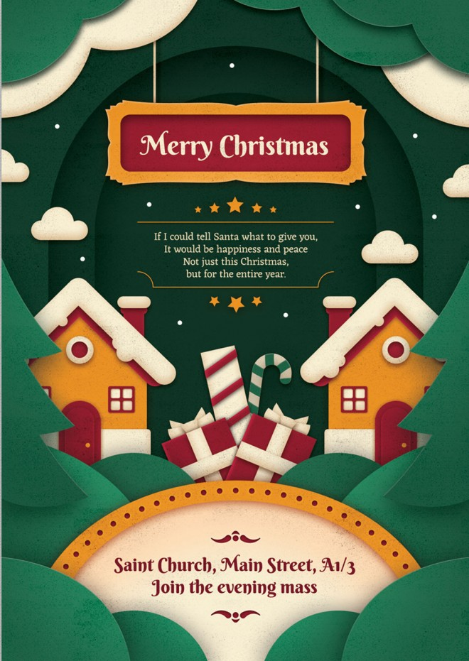 free christmas vector paper art greeting card