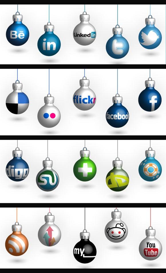 christmas social network icon set - vector ai