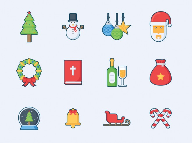 5 christmas icon design set