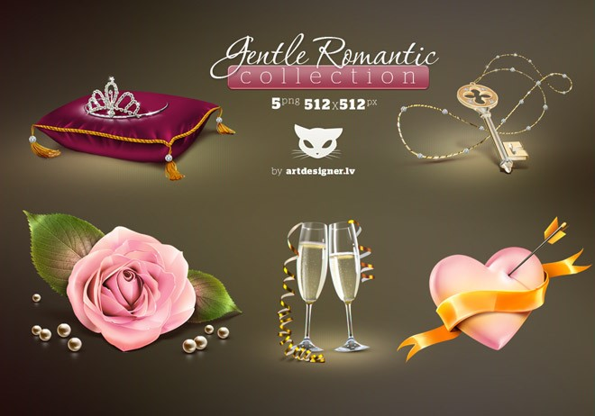 gentle romantic collection 5 icons