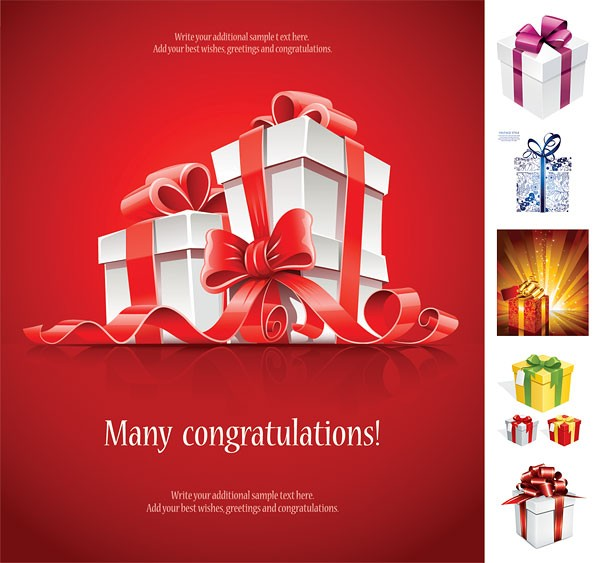 Beautiful gift box vector material Object Christmas