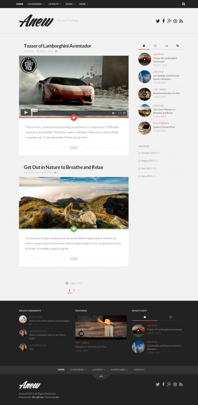 anew - responsive tumblr style free wordpress theme