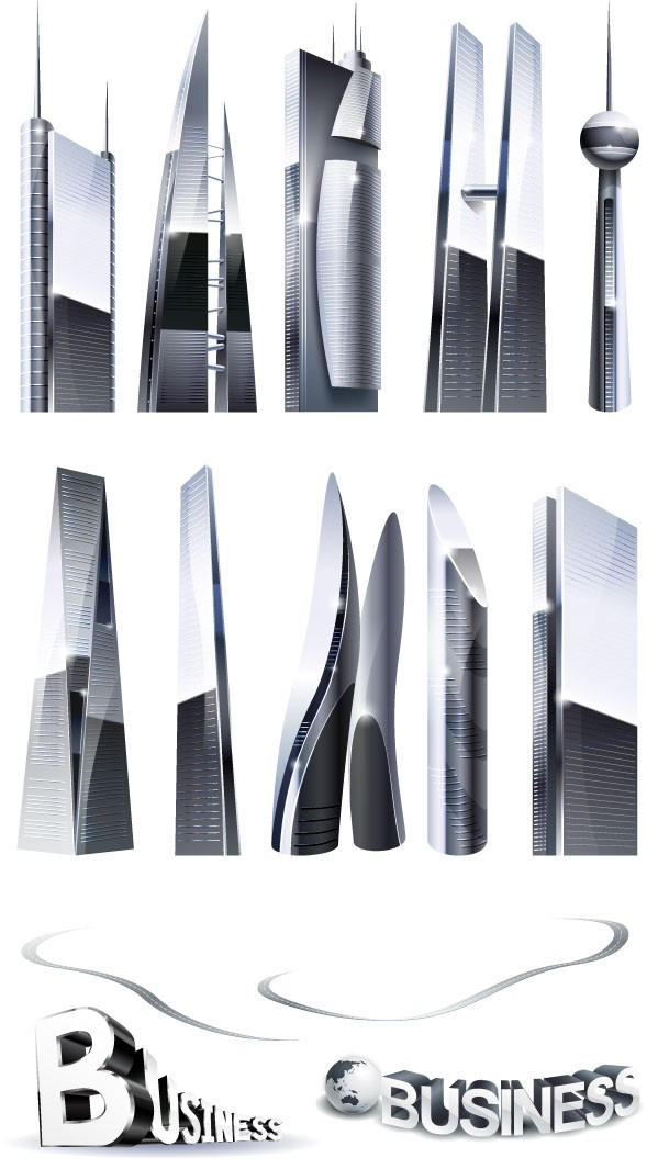 vector building - skyscrapers with ai file
