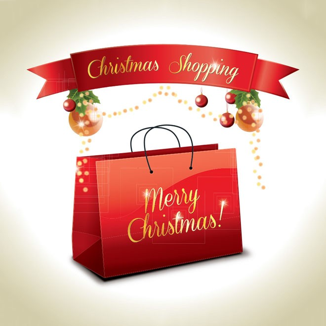 christmas shopping bag vector eps