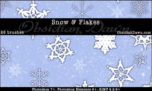 snow plus snowflakes brushes