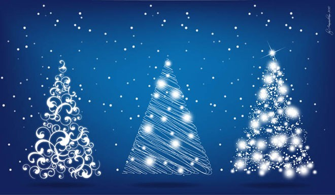3 christmas tree floral design vector eps
