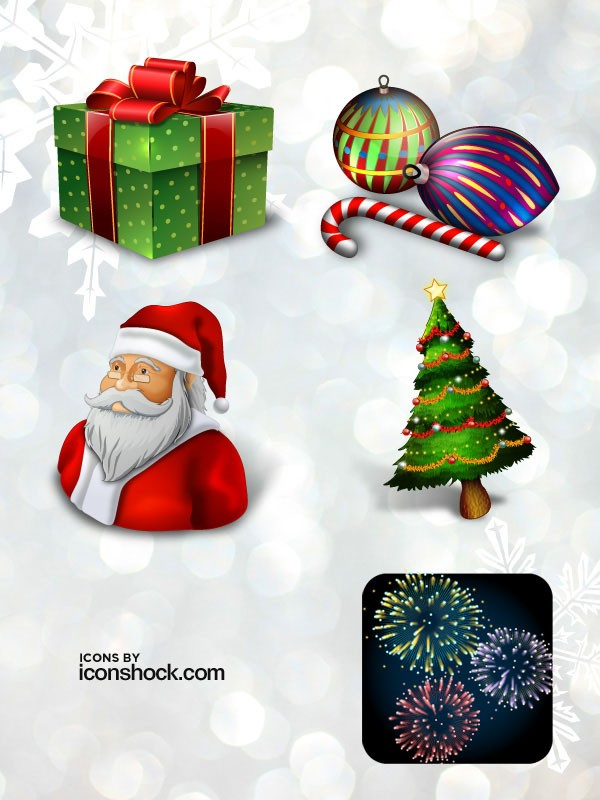 free christmas icon set - santa tree