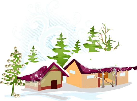 christmas snow house - vector
