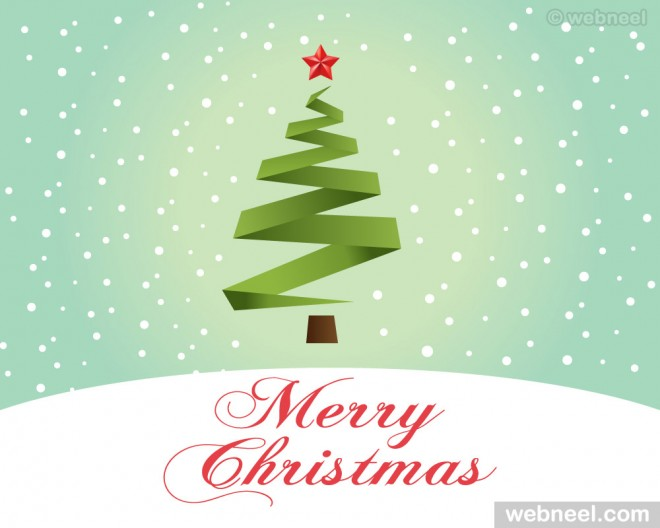christmas greeting card design - free vector