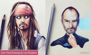 20 Beautiful Color Pencil Drawings of Celebrities by Lera Kiryakova