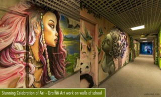 Stunning Celebration of Art - Graffiti Art work on walls of Paris school