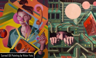 Surreal Techno pattern Oil Paintings by Victor Fota