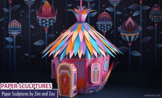 Amazing Paper Sculptures by Zim and Zou for Hermes store Dubai