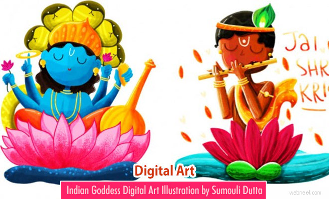 15 Beautiful Digital Art works and illustrations of Indian Goddess by Sumouli Dutta