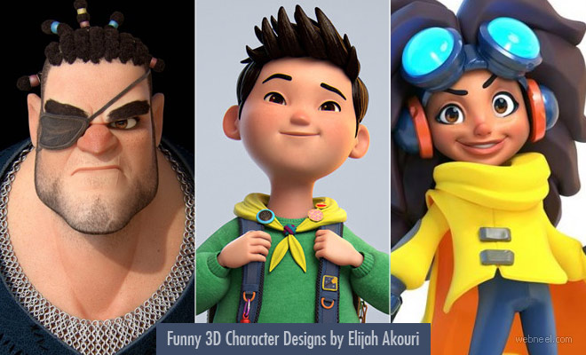 Funny 3D Character Designs and 3D Models by Elijah Akouri