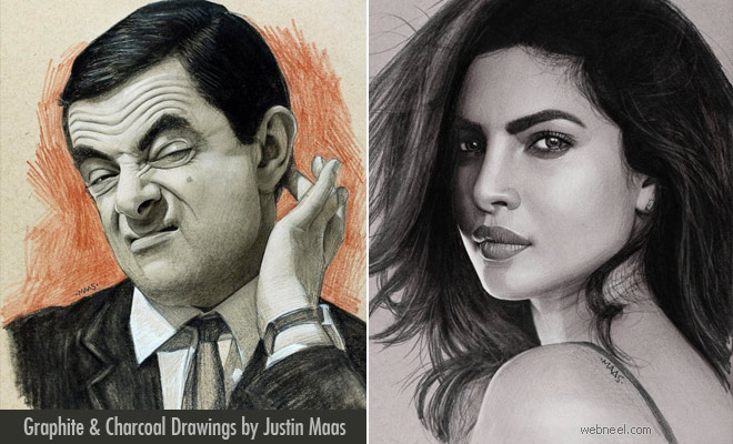 Perfect Shady Pose Graphite Sketches and Charcoal Drawings by Justin Maas