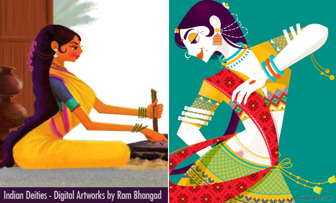 Indian Deities as Digital Illustration and Art works by Ram Bhangad