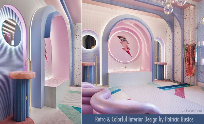 Retro Packed Colorful Interior Design for Modern homes by Patricia Bustos