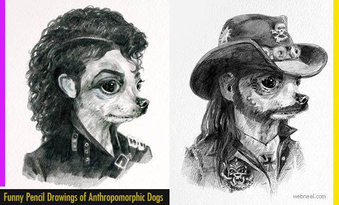 15 Funny Pencil Drawings of Anthropomorphic Dogs by Michael Gillete