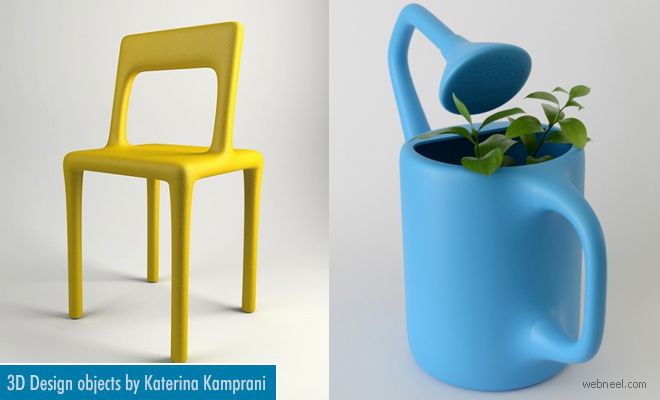 3D Model Designs of Quirky Household Objects by Katerina Kamprani