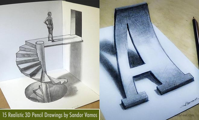 15 Simple and Realistic 3D Pencil Drawings by Sandor Vamos