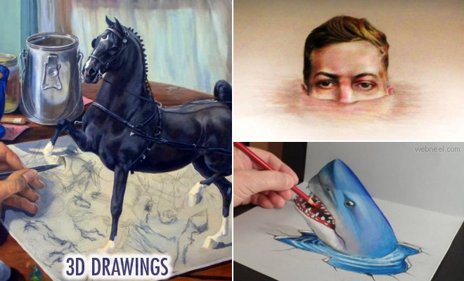 30 Realistic 3D Drawings - Easy 3D Pencil drawings for your inspiration