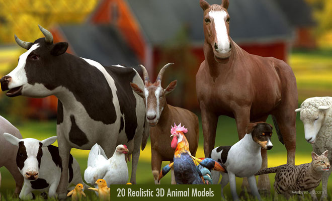 20 Realistic 3D Animal Models and character designs