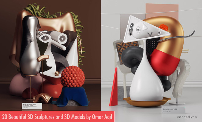20 Old Picasso Paintings recreated to Modern 3D Sculptures and 3D Paintings by Omar Aqil