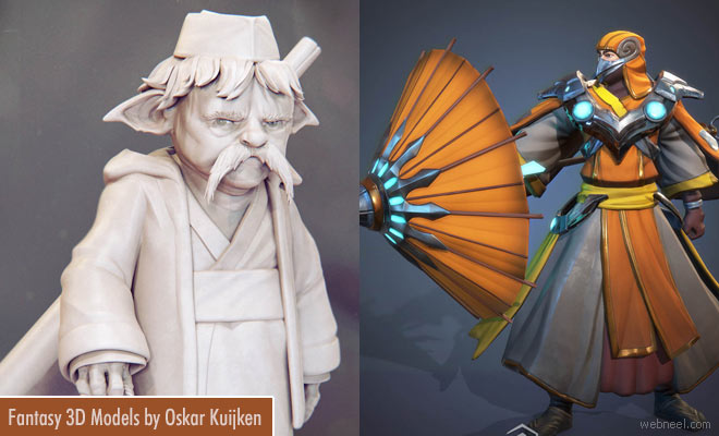 Fantasy Character Design and Concept 3D Models by Oskar Kuijken