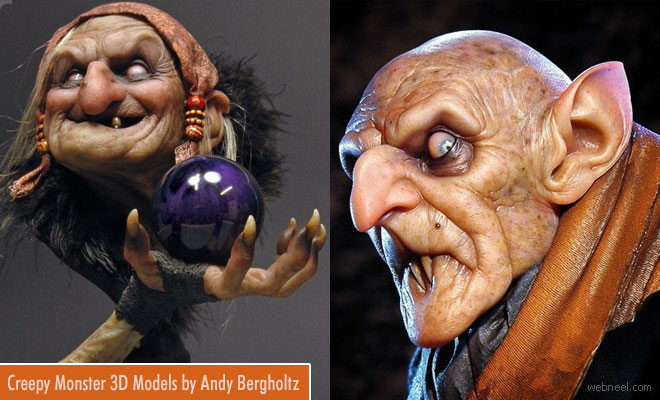 Creepy and Realistic 3D Model Sculptures by Andy Bergholtz