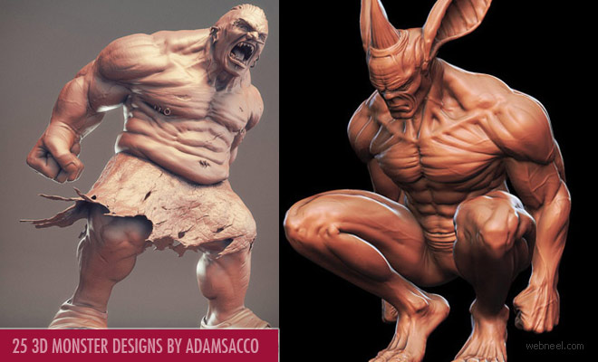 25 Beautiful 3D Monsters and 3D Character Designs by Adam Sacco