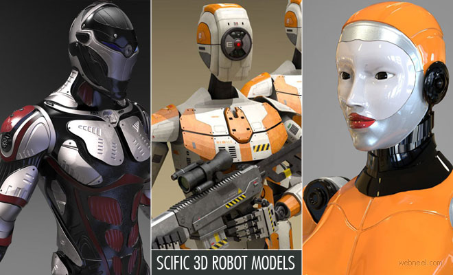 20 Creative Scific 3D Robot Models and game character designs