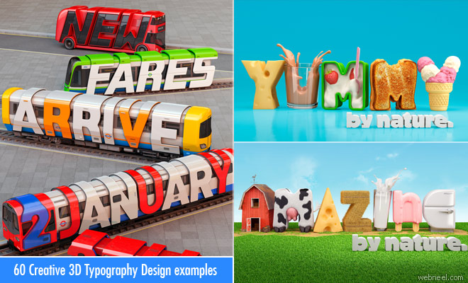 25 Creative 3D Typography Design ideas for your inspiration