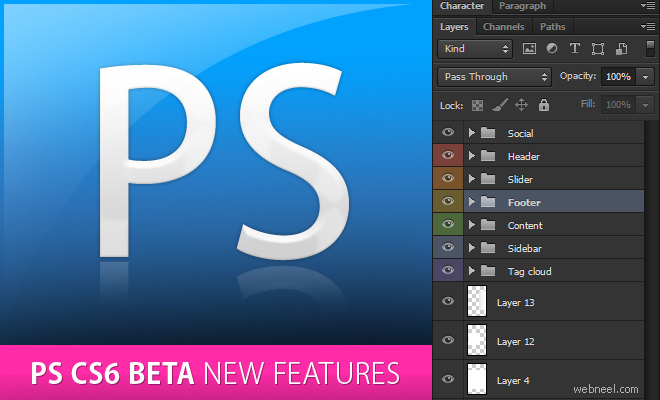 Adobe unveiled Photoshop CS6 Beta with redesigned UI and 65 new features - Free Download