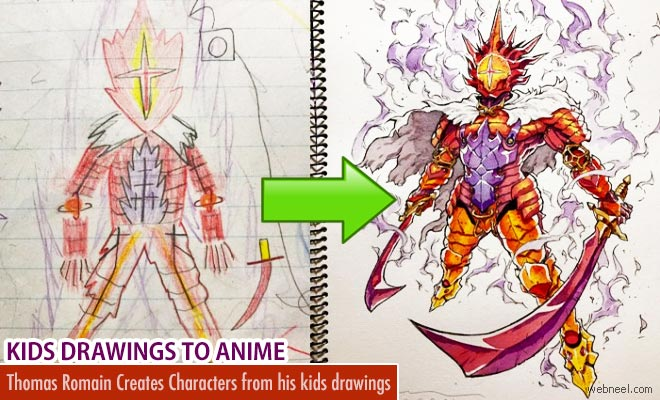 awesome anime character designs from kids drawings by thomas romain