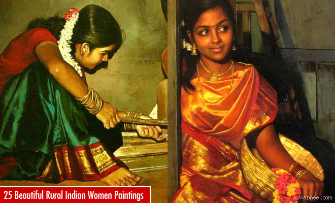 25 Beautiful Rural Indian Women Paintings by Tamilnadu artist