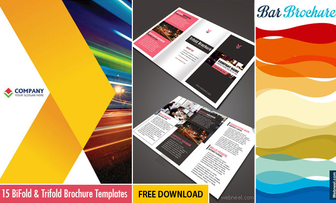 15 free corporate bifold and trifold brochure templates for Graphic design brochure templates