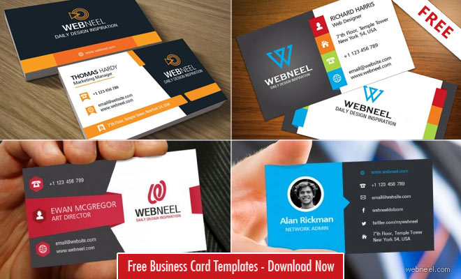 Professional Free Business Card Templates With Source Files - Free business card template download