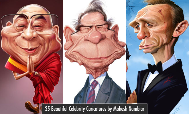 25 Beautiful Celebrity Caricatures by Indian Artist Mahesh Nambiar