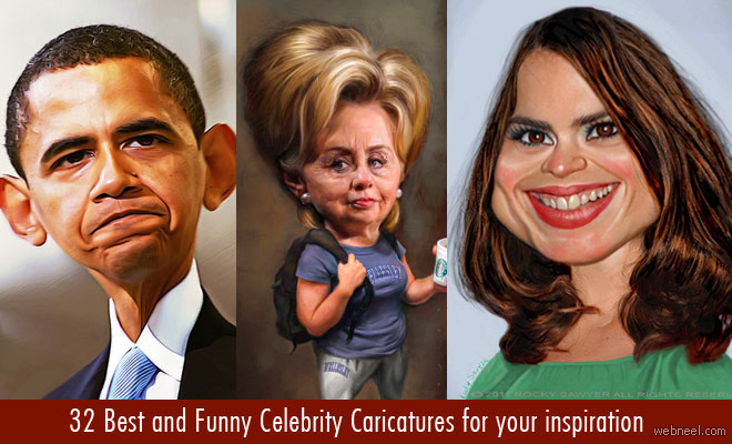 32 Beautiful and Funny Celebrity Caricatures for your inspiration