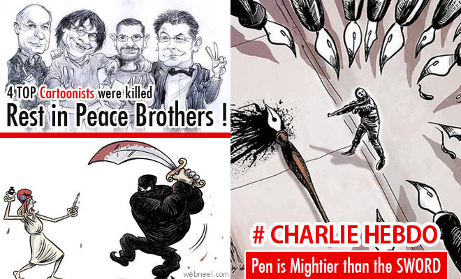 Cartoonists pay Tribute to Charlie Hebdo attack victims - 25 Cartoons