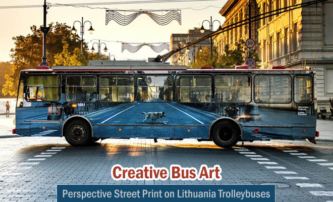 lithuania artists created perspective street print on trolleybuses