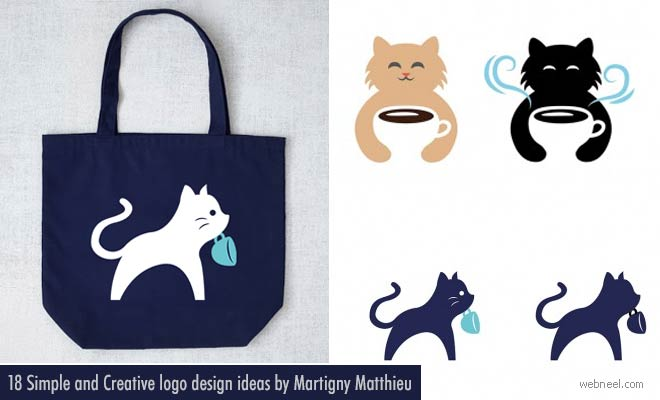 Creative Logo design ideas with Cat and Coffee by HongKong Designer Fiona Yiu