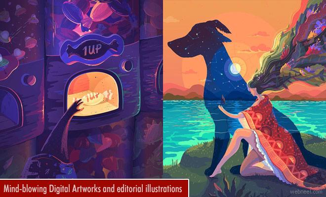 Mind-blowing Digital Art works and editorial illustrations by Lena Vargas Afanasieva