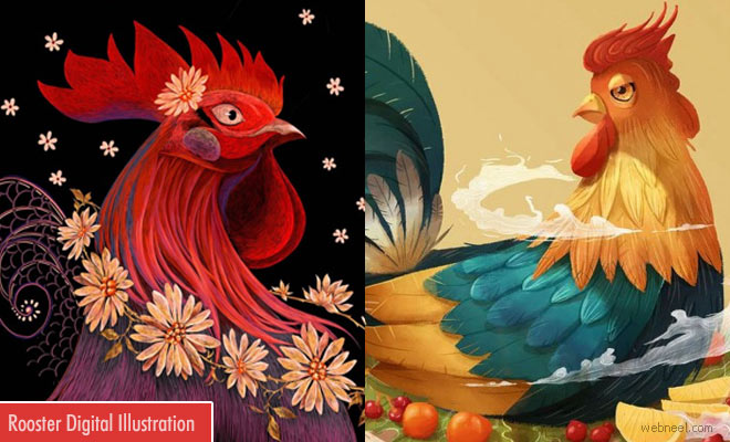 Vibrant Rooster Digital Art works by Vietnamese artists welcoming the Lunar year 2017