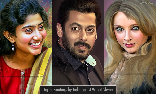 25 Stunning Celebrity Digital Paintings by Indian artist Venkat Shyam