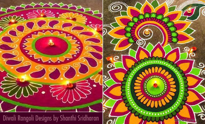 20 Beautiful Diwali Rangoli designs and Kolam designs by Shanthi
