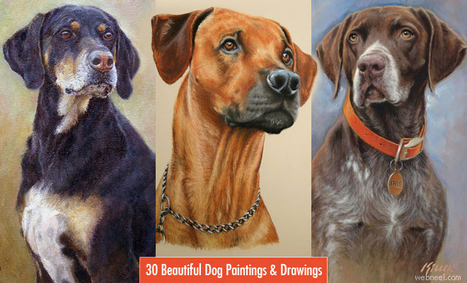 35 Beautiful Dog Paintings and from top artists around the world