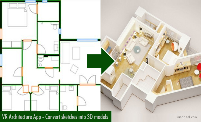 Converts your hand-drawn sketches into 3D models with VR-Architecture App