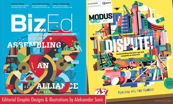 Enticing Editorial Graphic Designs and illustrations of Aleksandar Savic